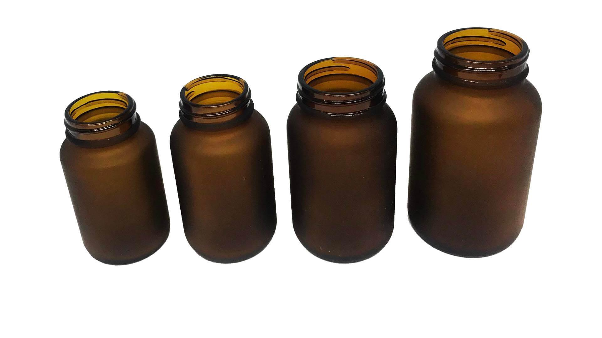 玻璃瓶(霧)Glass with Etching (Amber)